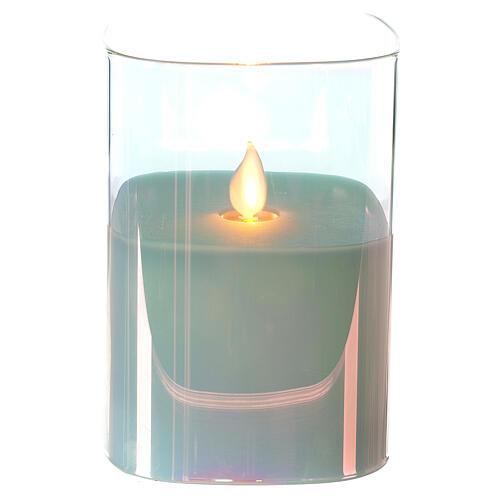Candela cera vetro quadrata iridescente 12 cm fiamma movimento 1