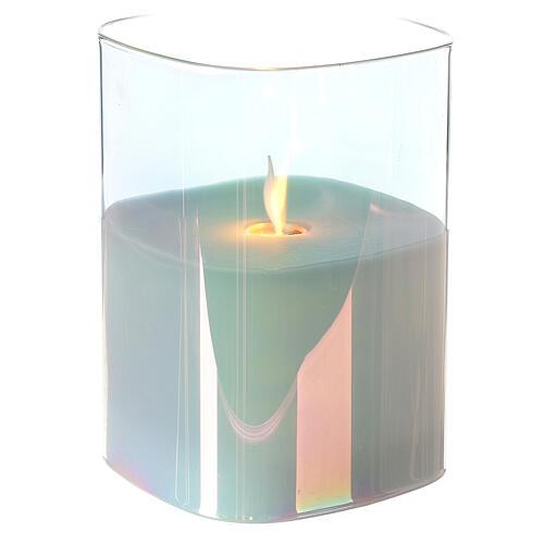 Candela cera vetro quadrata iridescente 12 cm fiamma movimento 2