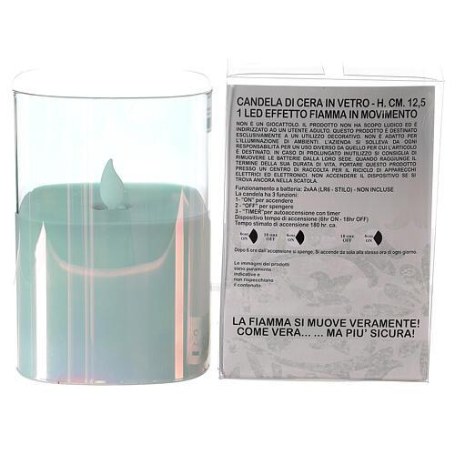 Candela cera vetro quadrata iridescente 12 cm fiamma movimento 3