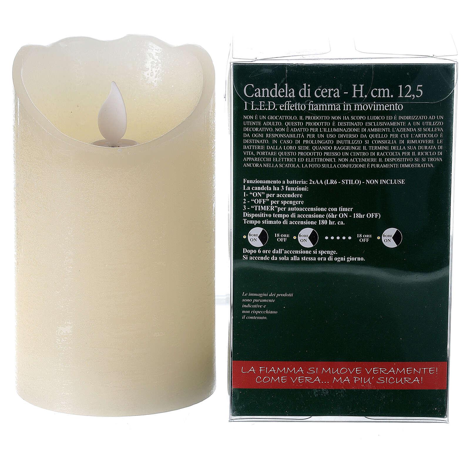 Candela cera led h 13 cm effetto fiamma movimento 3