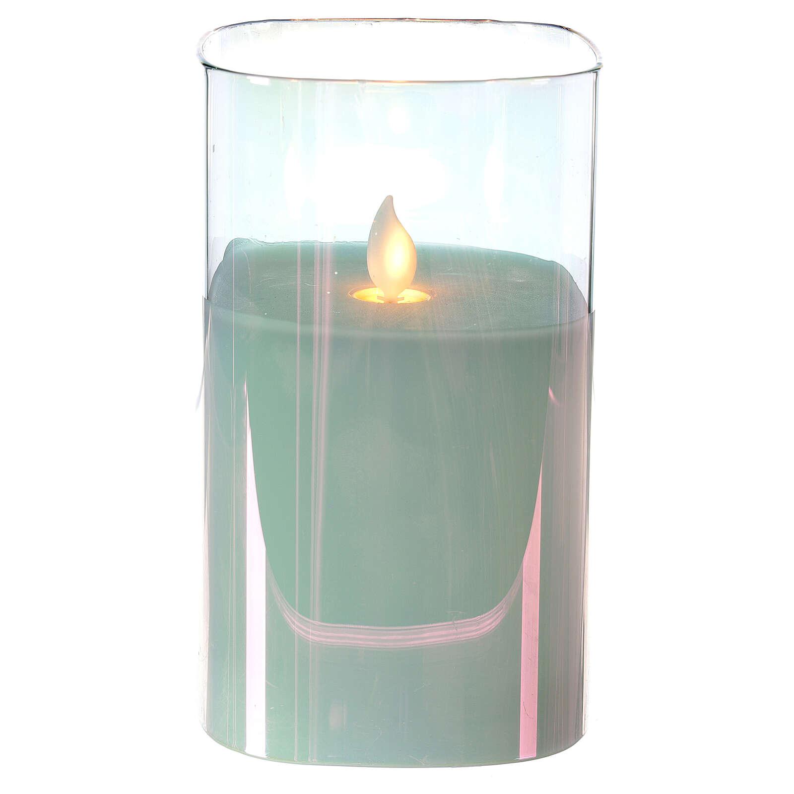 Candela cera quadrata iridescente 15 cm effetto fiamma movimento 3