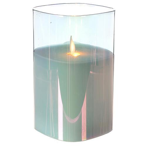 Candela cera quadrata iridescente 15 cm effetto fiamma movimento 2