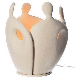 Lampe grès cérame h 28cm ivoire s1