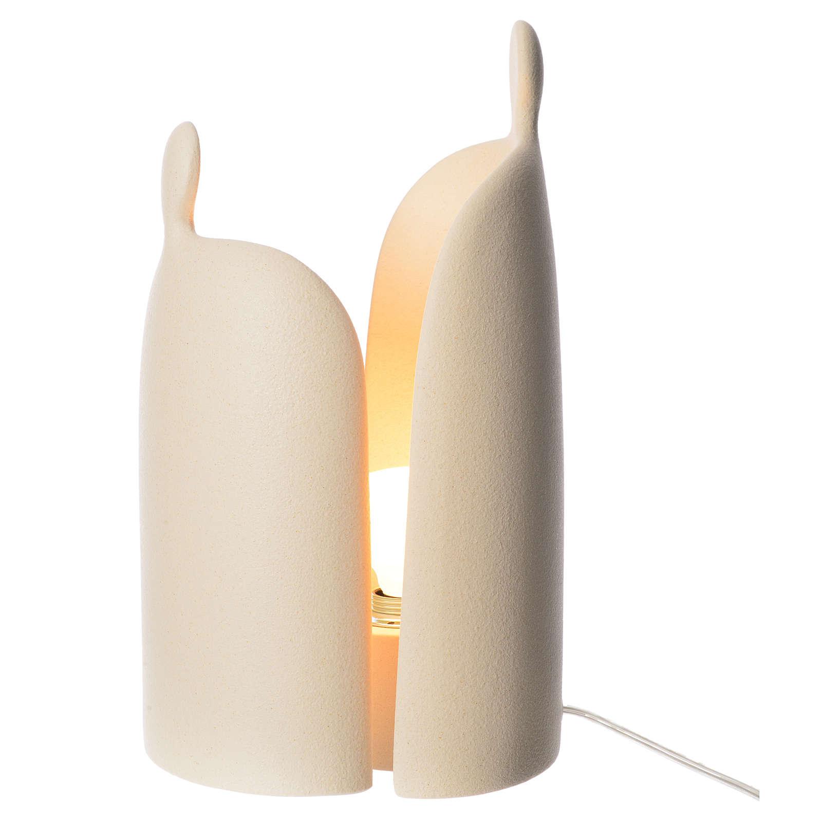 Lampe étreinte grès cérame h 36cm ivoire 4