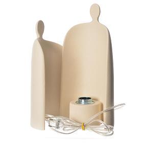 Lampe étreinte grès cérame h 36cm ivoire s4
