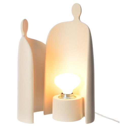 Lampe étreinte grès cérame h 36cm ivoire 3
