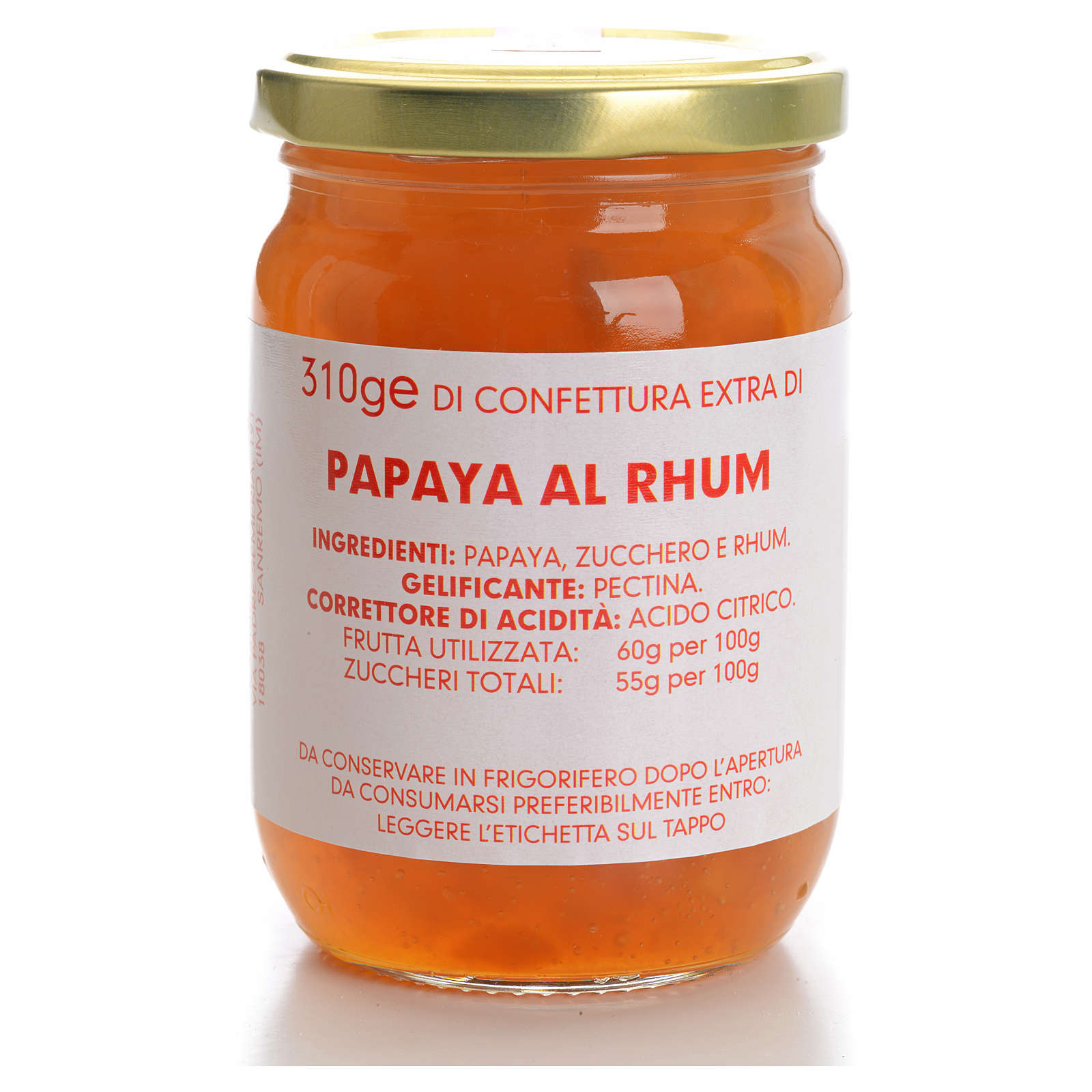 Confitura papaya con ron 310gr Monasterio Carmelitas 3
