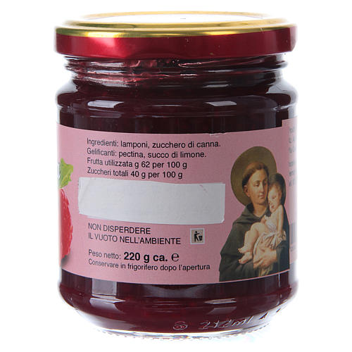 Confettura extra di lamponi 220 g  di Sant'Antonio di Padova 2