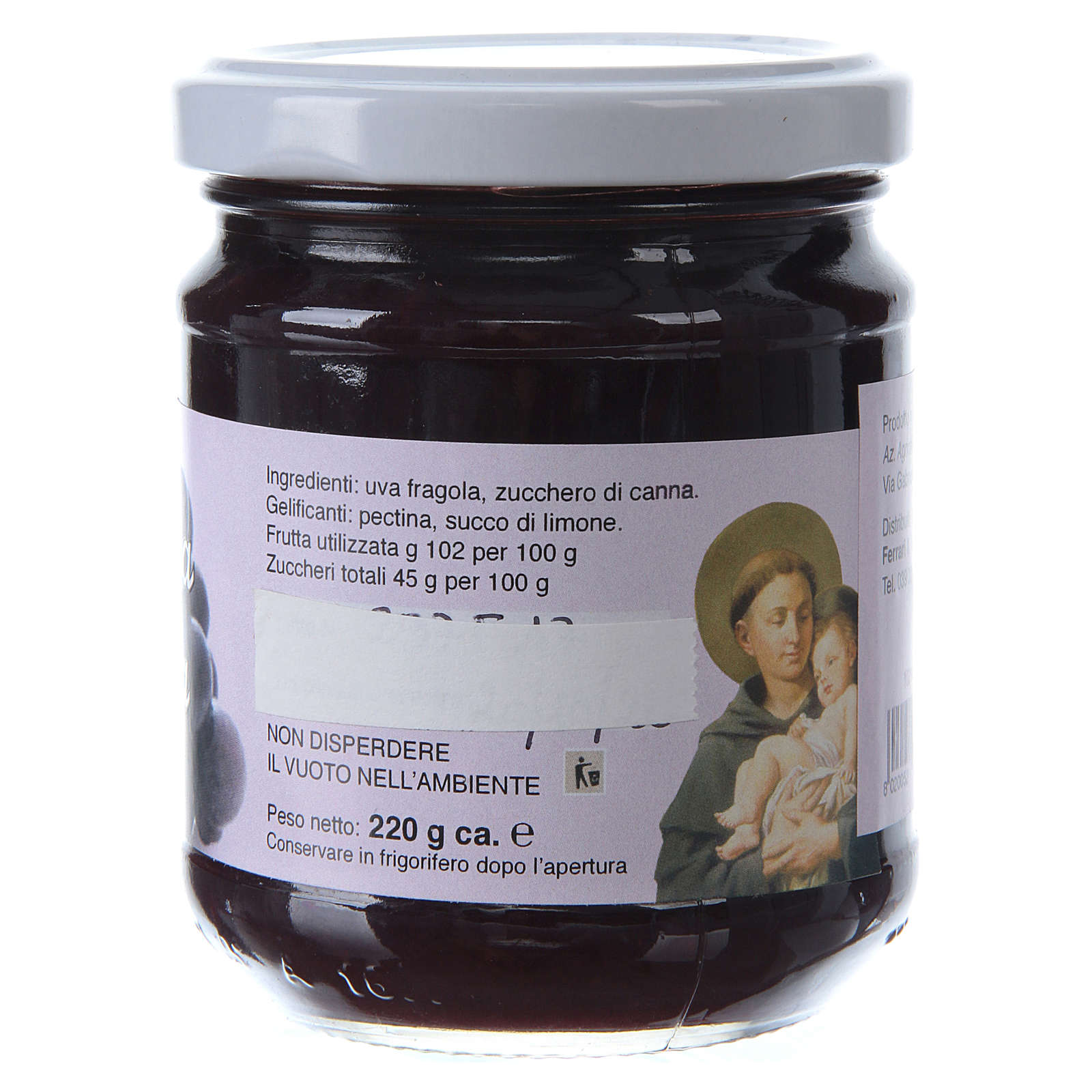 220gr extra Isabella grape jam of St. Anthony of Padua 3