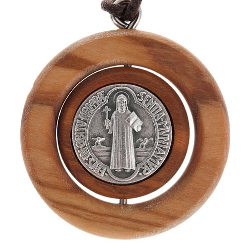 Medal pendant Olive wood St Benedict 1
