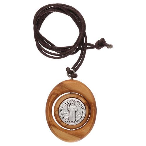 Medal pendant Olive wood St Benedict 6
