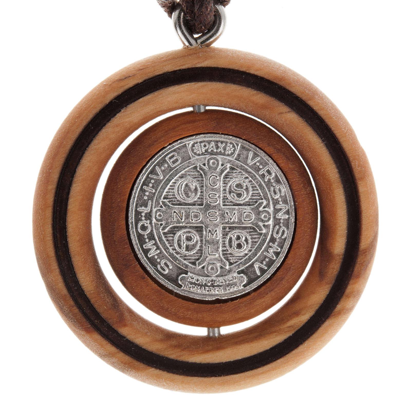 Medal pendant Olive wood St Benedict 4