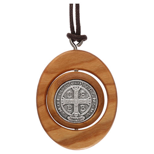 Medal pendant Olive wood St Benedict 5