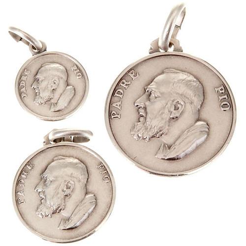 Medalha Padre Pio prata 925 1