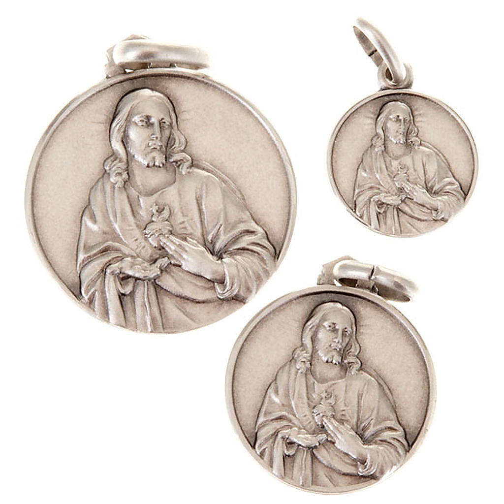 Medalla Sacro Corazón de Jesus plata 925 4