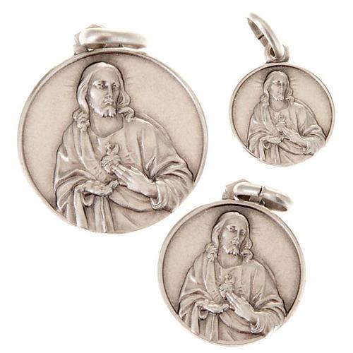 Medaglietta Sacro Cuore di Gesù argento 925 1