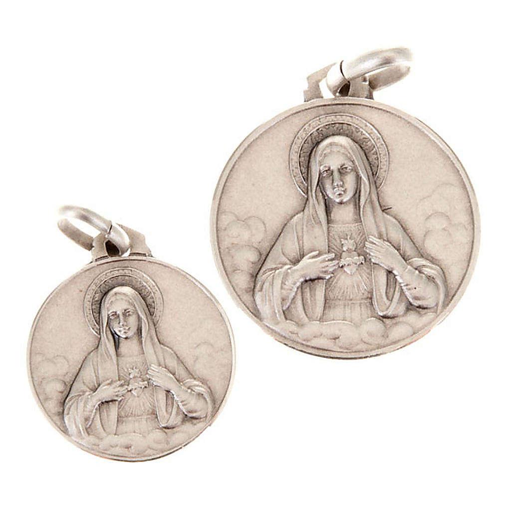 Medaglietta Sacro Cuore di Maria argento 925 4