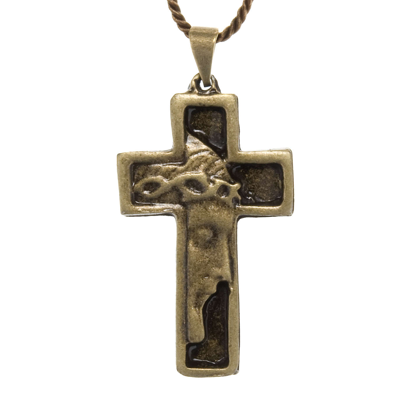Cruz collar rostro de Jesucristo color bronce 4