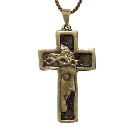 Cruz collar rostro de Jesucristo color bronce s1