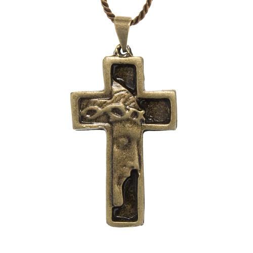 Croce pendente Volto di Cristo color bronzo 1