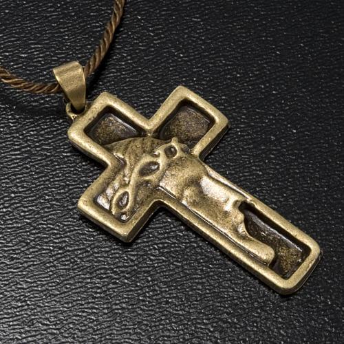 Croce pendente Volto di Cristo color bronzo 2