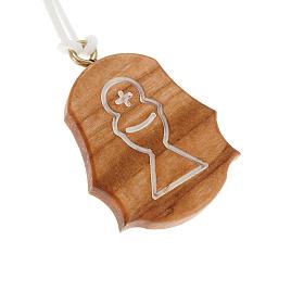 Pendentifs assortis: Médaille bois d'olivier calice hostie