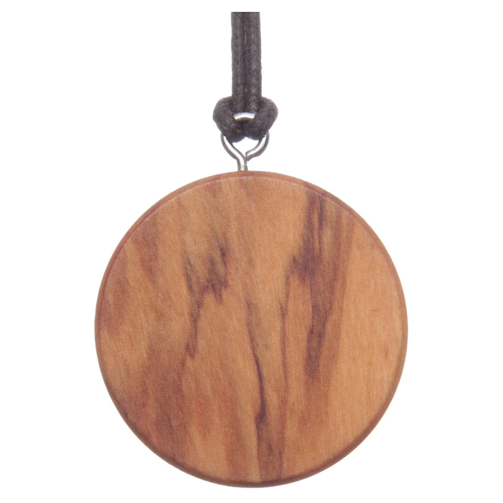 Medaglia tonda legno olivo Gesù immagine 4