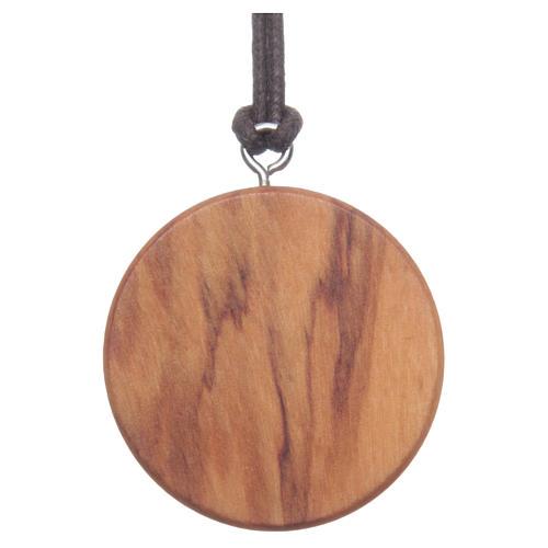 Medaglia tonda legno olivo Gesù immagine 2