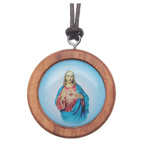 Pingentes Vários: Medalha redonda madeira oliveira Jesus imagem