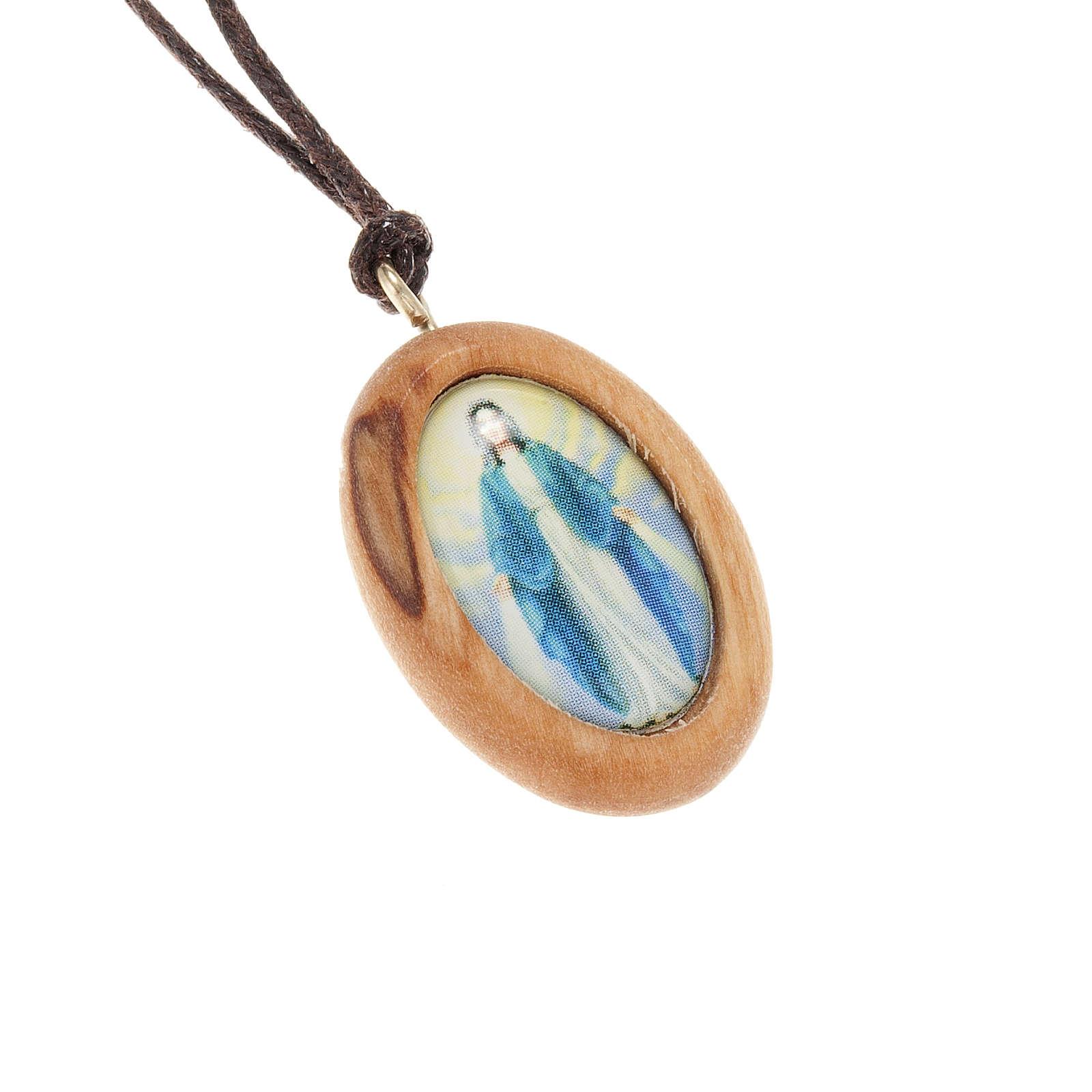 Medaglia ovale legno olivo Miracolosa 4