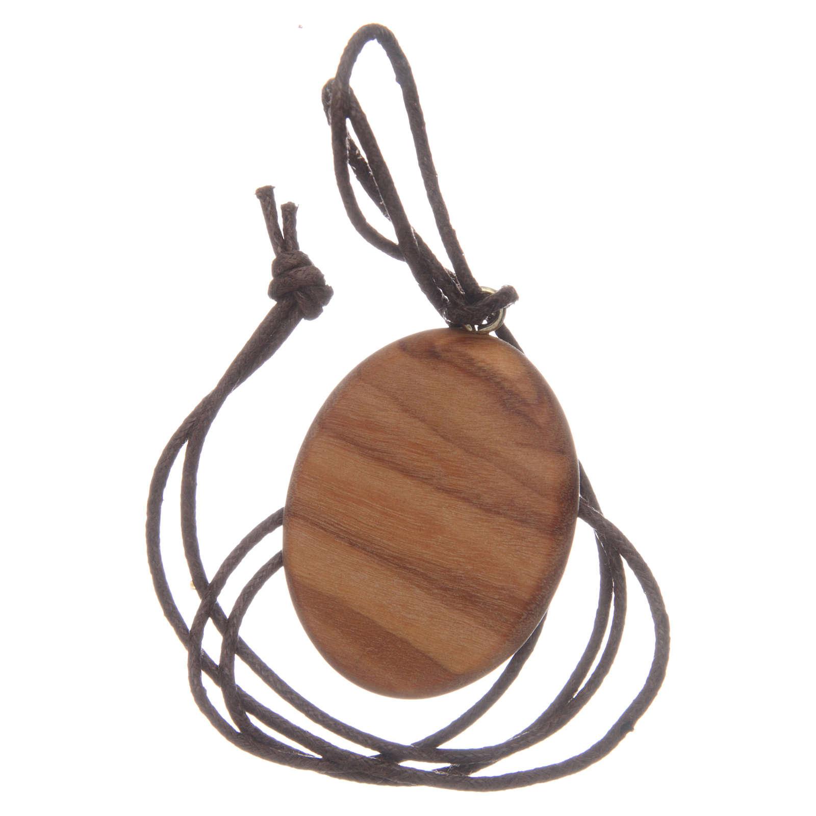 Medalla ovalada Sagrado Corazón Jesús madera olivo 4