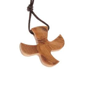Pingentes Vários: Medalha forma pomba madeira de oliveira