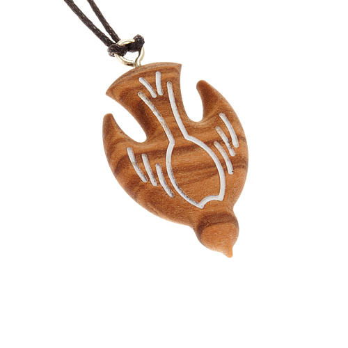 Médaille bois d'olivier colombe gravée blanche 1
