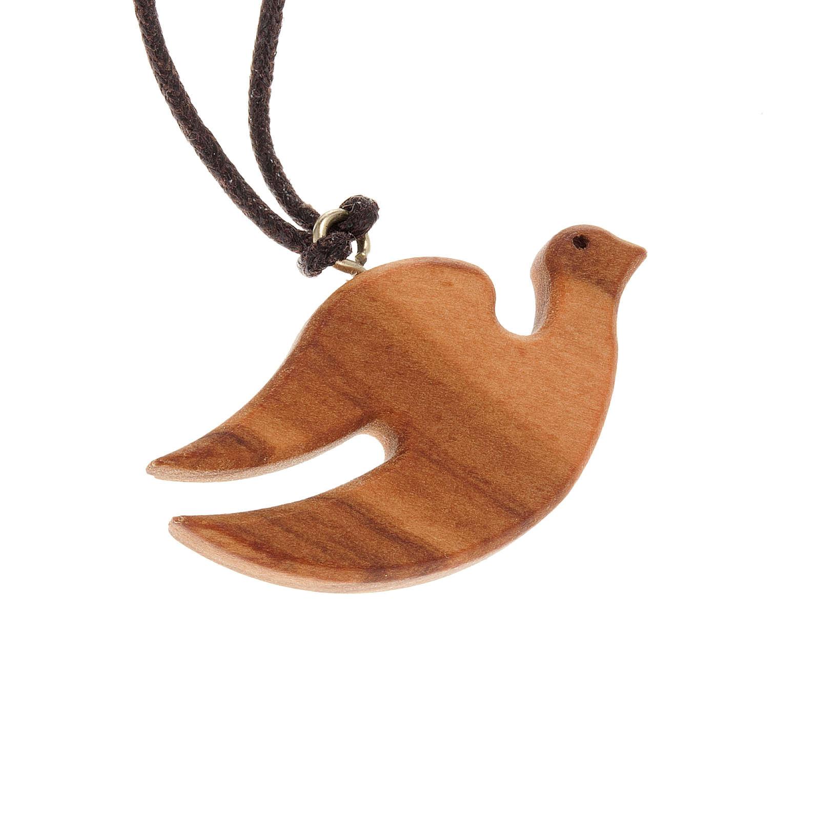 Médaille bois d'olivier colombe ailes serrées 4