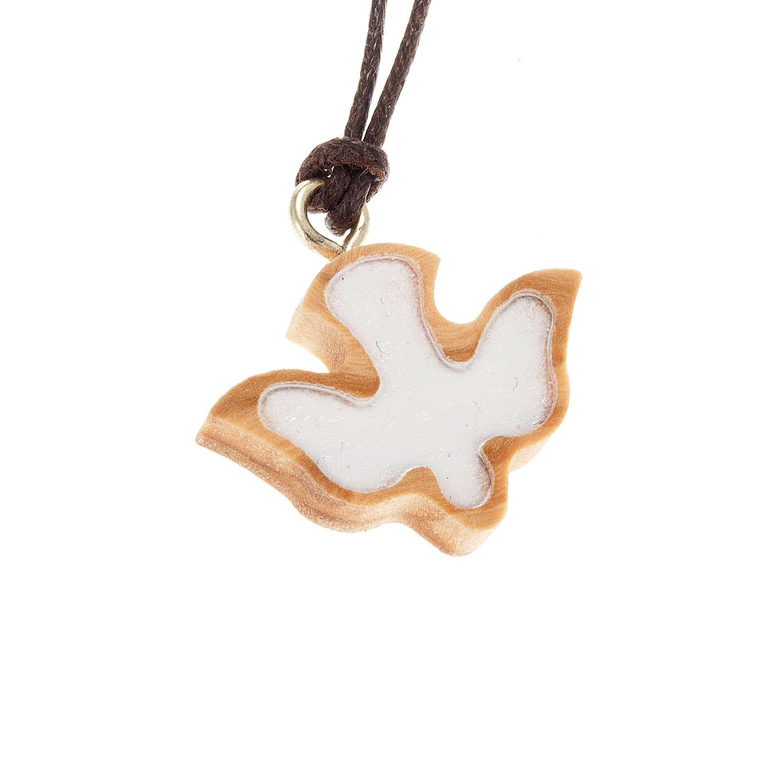 Medalik drewno oliwne gołąb biały 4