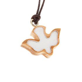 Medalik drewno oliwne gołąb biały s1