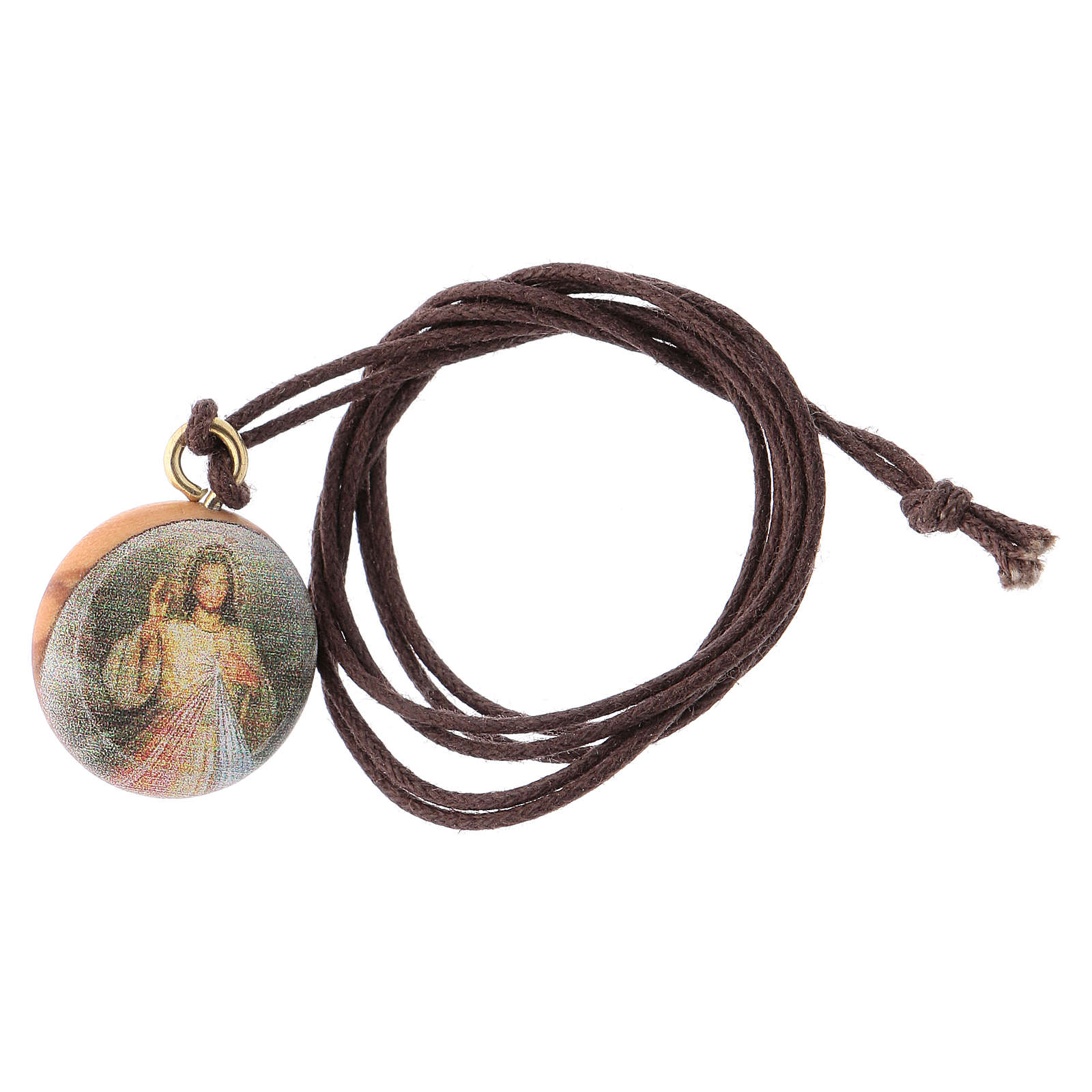 Medal with Jesus Divine Mercy olive wood 4