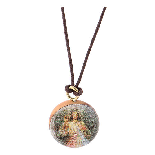 Medaglia legno olivo Gesù Divina Misericordia 1