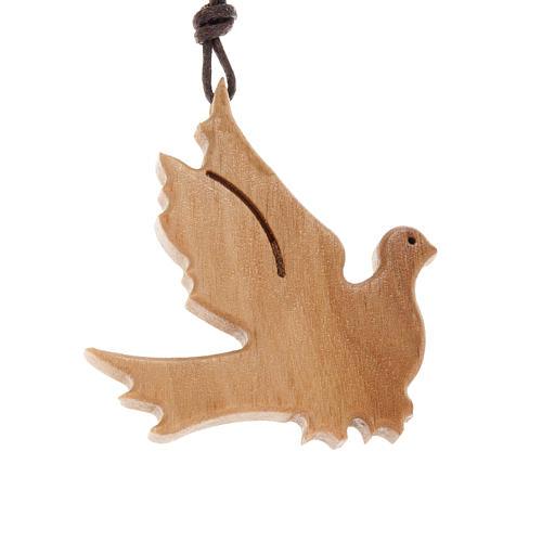 Médaille bois d'olivier colombe ailes ouvertes 1