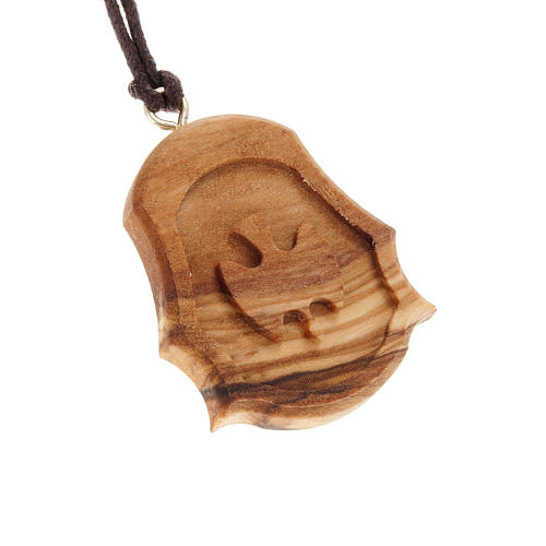 Médaille bois d'olivier colombe gravée relie