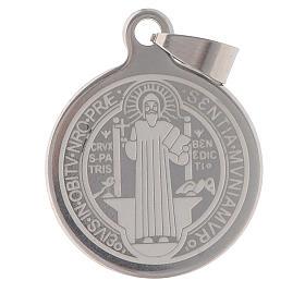 Medalla de San Benito en acero inox 25mm s1