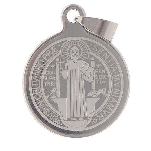 Medalla de San Benito en acero inox 25mm 1