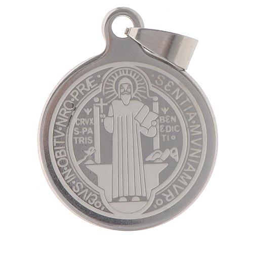 Medaglia San Benedetto acciaio inox 25mm 1