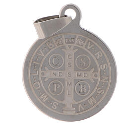 St Benedict medal in stainless steel 25mm s2