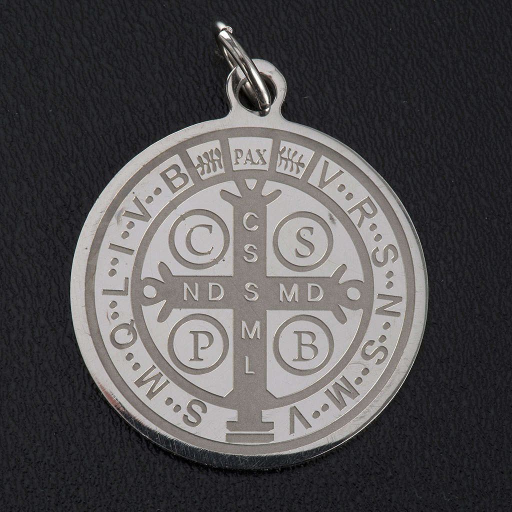 Saint Benedict medal in stainless steel 30mm 4
