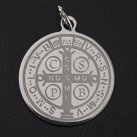 Medalla de San Benito en acero inox 30mm s3