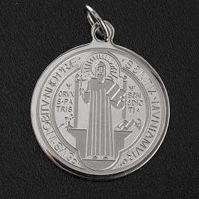 Médaille Saint Benoit acier inoxydable 30mm s3