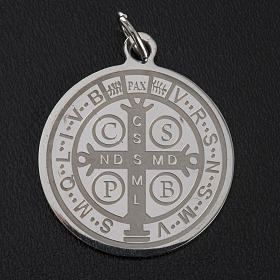 Médaille Saint Benoit acier inoxydable 30mm s5
