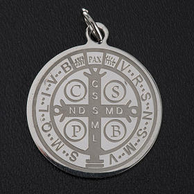 Médaille Saint Benoit acier inoxydable 30mm s6
