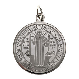 Médaille Saint Benoit acier inoxydable 30mm s1